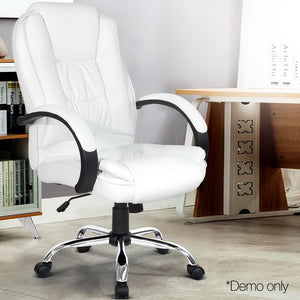 PU Leather Padded Office Computer Chair - White