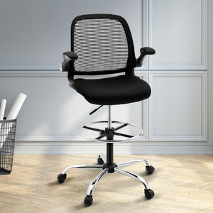 Veer Drafting Stool Office Chair Mesh Adjust Black