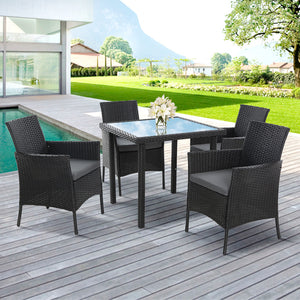 Outdoor Dining Set Patio Furniture Wicker Chairs Table Black 5PCS