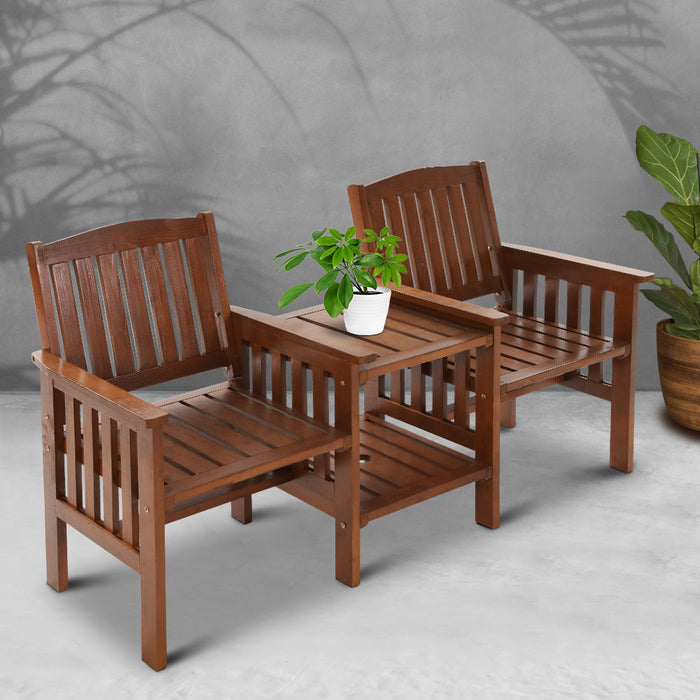Gardeon Garden Bench Chair Table Loveseat Wooden Outdoor Furniture Patio Park Brown (excl-Regional QLD & WA, Far Nth QLD, NT & WA Remote)