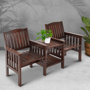 Gardeon Garden Bench Chair Table Loveseat Wooden Outdoor Furniture Patio Park Charcoal (excl-Regional QLD & WA, Far Nth QLD, NT & WA Remote)