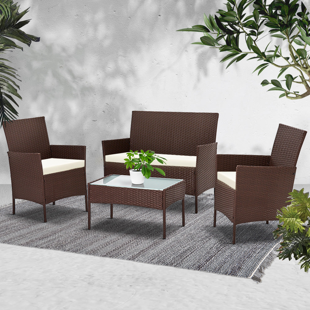 Gardeon 4-piece Wicker Outdoor Set - Brown