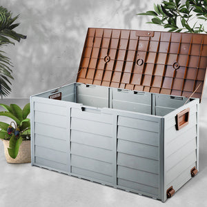 Giantz 290L Outdoor Storage Box - Brown - (excl-Regional QLD & WA, Far Nth QLD, NT & WA Remote)