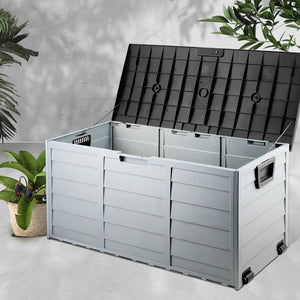 Giantz 290L Outdoor Storage Box - Black - (excl-Regional QLD & WA, Far Nth QLD, NT & WA Remote)