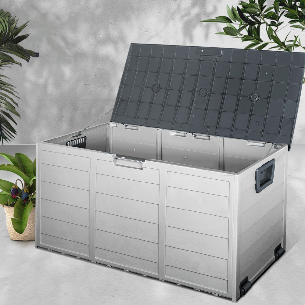 Giantz 290L Outdoor Storage Box - Grey- (excl-Regional QLD & WA, Far Nth QLD, NT & WA Remote)