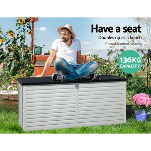 Gardeon 490L Outdoor Storage Box Bench Seat Toy Tool Sheds Chest (excl-Regional QLD & WA, Far Nth Qld, NT & WA Remote)