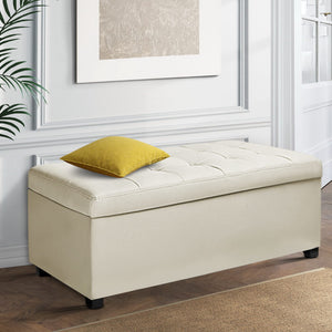 Large Ottoman PU Leather Chest Storage Box Foot Stool Cream