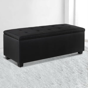 Faux Ottoman Storage Foot Stool Large Black