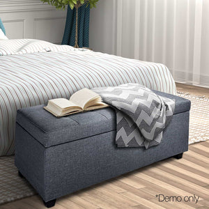 Faux Ottoman Storage Foot Stool Large Grey