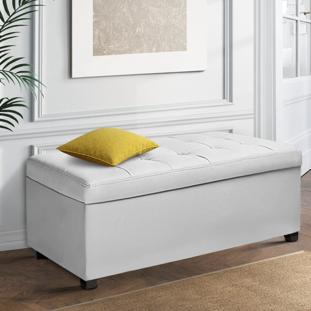 Large Ottoman PU Leather Chest Storage Box Foot Stool White