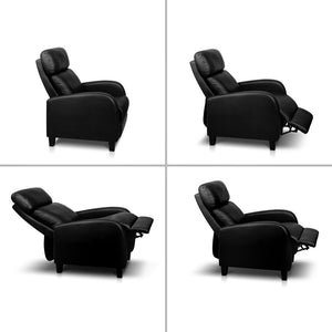 Faux Leather Armchair Recliner - Black (excl-Regional QLD & WA, Far Nth QLD, NT & WA Remote)