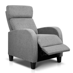 Linen Fabric Armchair Recliner - Grey