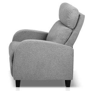 Fabric Reclining Arm Chair - Grey