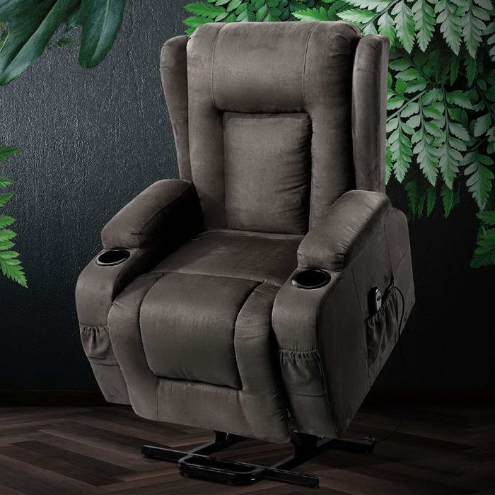 Artiss Electric Recliner Chair Lift Heated Massage Chairs Fabric Lounge Sofa - (Only available in VIC, NSW, SA & ACT)
