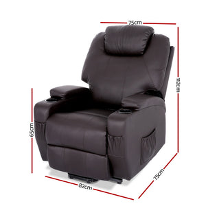 Artiss Electric Recliner Lift Chair Massage Armchair Heating PU Leather Brown - (Not available in QLD, TAS, WA & NT)
