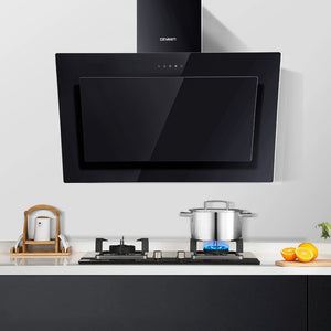 DEVANTI Rangehood 900mm Black Angled Side Draft Range Hood Canopy Glass 90cm - (Only available in VIC, NSW, SA & ACT)