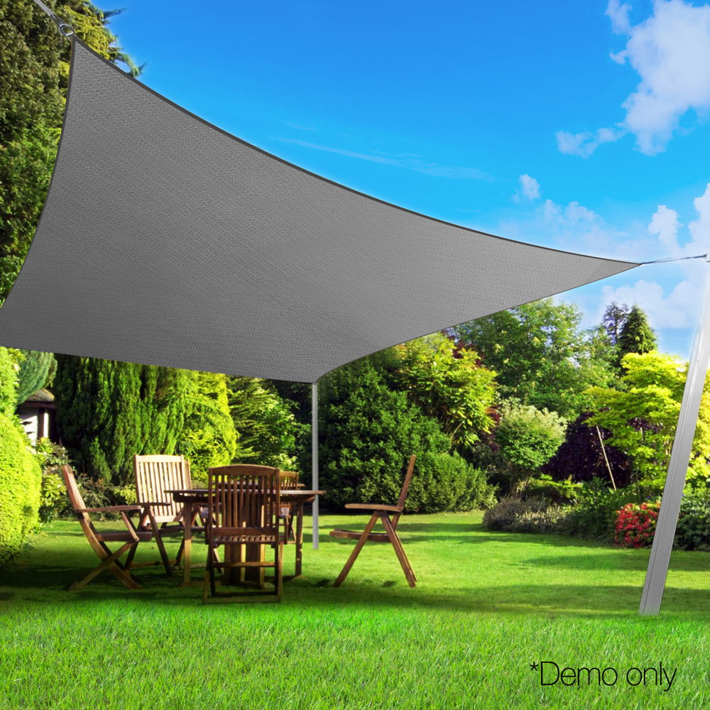 Instahut Sun Shade Sail Cloth Shadecloth Outdoor Canopy Rectangle 280gsm 5x6m