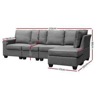 Artiss Sofa Lounge Set 5 Seater Modular Chaise Chair Suite Couch Fabric Grey- (NSW, Vic, SA, ACT & Tas only)