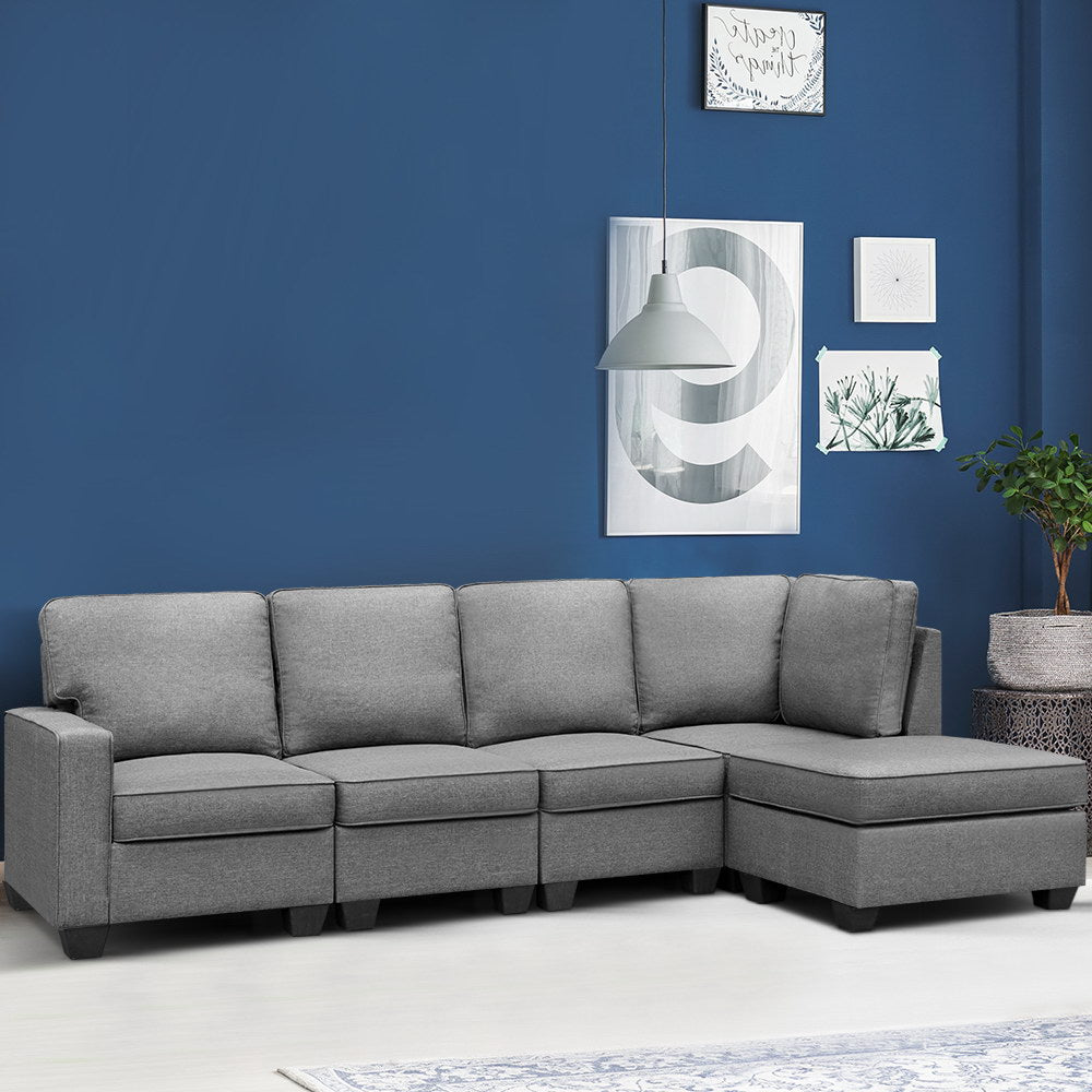 Artiss Sofa Lounge Set 5 Seater Modular Chaise Chair Suite Couch Fabric Grey- (excl-Regional QLD & WA, Far Nth QLD, NT & WA Remote)