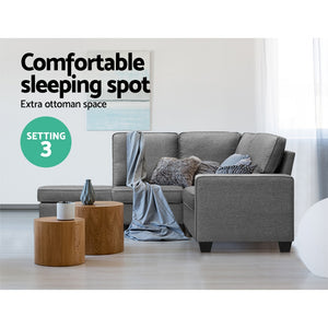 Artiss Sofa Lounge Set 4 Seater Modular Chaise Chair Suite Couch Fabric Grey - (excl-Regional QLD & WA, Far Nth QLD, NT & WA Remote)
