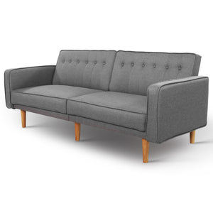 Artiss Sofa Bed Lounge 3 Seater Futon Couch Recline Chair Wooden 195cm Fabric (excl-Regional QLD & WA, Far Nth QLD, NT & WA Remote)