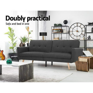 Artiss Sofa Bed Lounge Set Couch Futon 3 Seater Fabric Reliner 197cm Dark Grey - (excl-Regional QLD & WA, Far Nth QLD, NT & WA Remote)