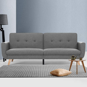 Artiss Sofa Bed Lounge Set Couch Futon 3 Seater Fabric Reliner 197cm Grey - (excl-Regional QLD & WA, Far Nth QLD, NT & WA Remote)
