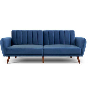 Artiss Sofa Bed Lounge 3 Seater Futon Couch Recline Chair Wooden 207cm Velvet Blue (excl-Regional QLD & WA, Far Nth QLD, NT & WA Remote)