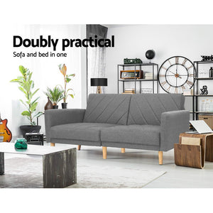 Artiss 1950mm 3 Seater Sofa Bed Recliner Lounge Couch Futon Grey Fabric - (excl-Regional QLD & WA, Far Nth QLD, NT & WA Remote)