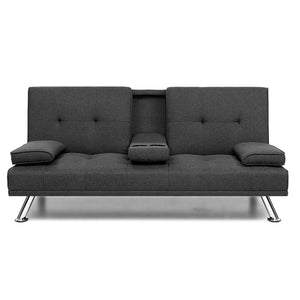 Artiss Linen Fabric 3 Seater Sofa Bed Recliner Lounge Couch Cup Holder Futon Dark Grey  - (Not available in TAS, WA & NT or any remote/regional areas)