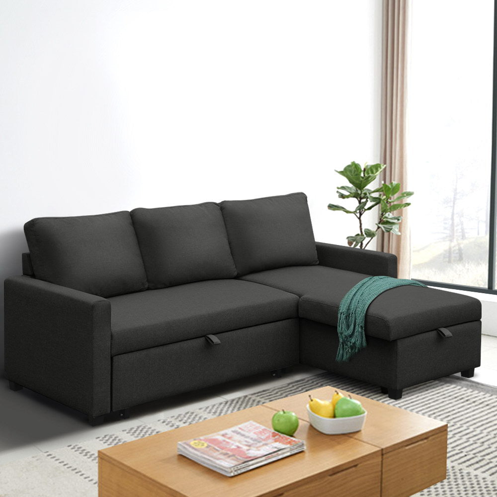 Artiss 3 Seater Sofa Bed Storage Corner Fabric Lounge Chaise Couch Charcoal - (Not available in QLD, TAS, WA & NT)