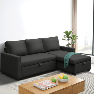 Artiss 3 Seater Sofa Bed Storage Corner Fabric Lounge Chaise Couch Charcoal - (Not available in TAS, WA & NT or any remote/regional areas)