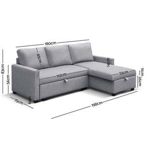 3 Seater Fabric Sofa Bed with Storage  - Grey - (Not available in TAS, WA & NT or QLD regional/remote)