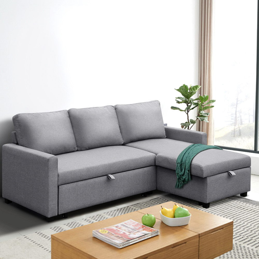 3 Seater Fabric Sofa Bed with Storage  - Grey - (Not available in QLD, TAS, WA & NT)