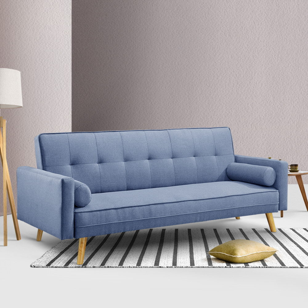 3 Seater Faux Fabric Sofa Blue - (Not available in TAS, WA & NT or any remote/regional areas)
