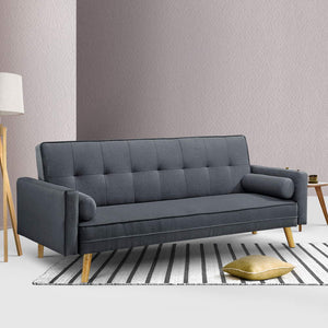 Artiss 3 Seater Fabric Sofa Bed - Charcoal - (Not available in TAS, WA & NT or any remote/regional areas)