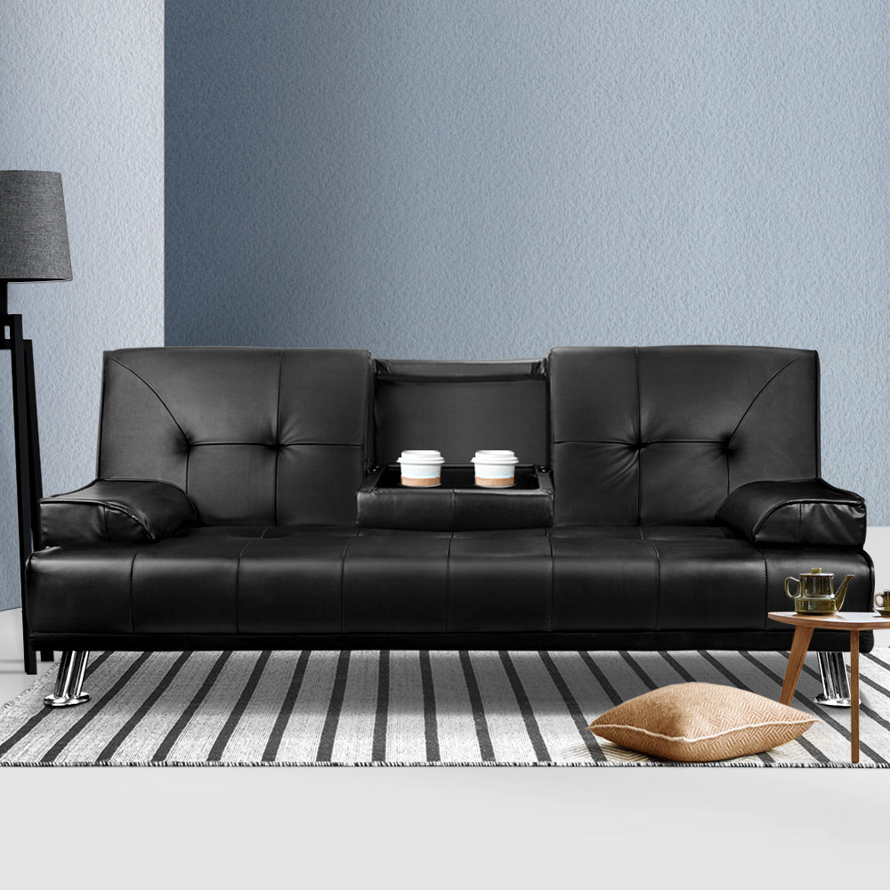 Artiss 3 Seater PU Leather Sofa Bed - Black w/ Cup Holders - (Not available in TAS, WA & NT or any remote/regional areas)