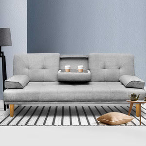 3 Seater Fabric Sofa Bed w/ 2 Cup Holder Grey - (Not available WA, NT and Far NQ)
