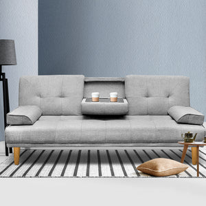 Artiss 3 Seater Fabric Sofa Bed - Grey w/ 2 Cup Holders - (Not available in TAS, WA & NT or any remote/regional areas)