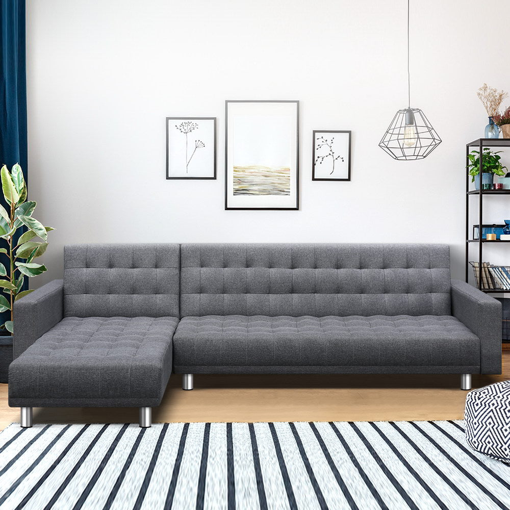 Modular Fabric Sofa Bed - Grey - (Not available in TAS, WA & NT or any remote/regional areas)