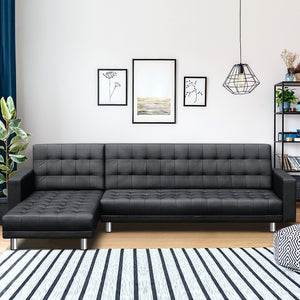 Artiss Modular PU Leather Sofa Bed - Black - (Not available in TAS, WA & NT or any remote/regional areas)