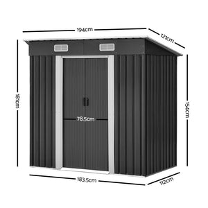 1.94 x 1.21M Metal Tool Shed - Grey