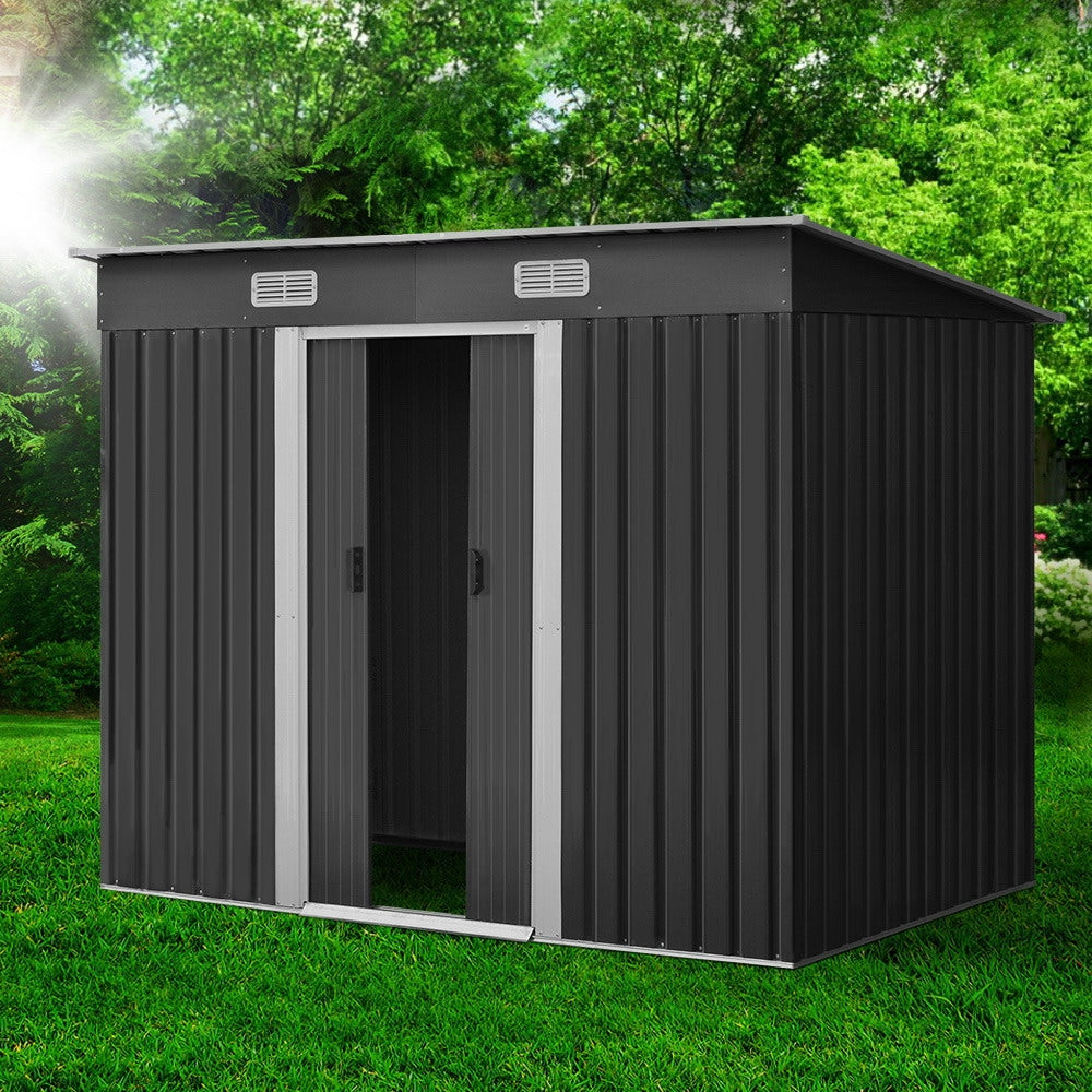 2.38 x 1.31M Steel Garden Shed - Grey