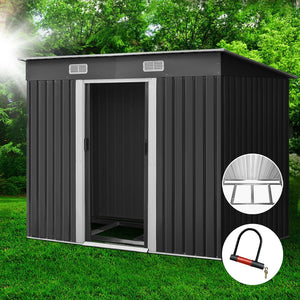 2.38 x 1.31M Steel Base Garden Shed - Grey