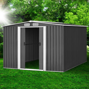 2.57 x 3.12M Garden Shed with Roof - Grey - (Not available in FNQ, WA & NT)