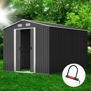 GIANTZ Garden Shed Workshop Shelter Metal Tool 2.6x3.9x2M - (Only available in VIC, NSW, SA & ACT)