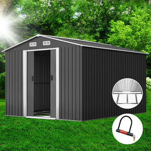 Giantz 2.02 x 3.89m Metal Shed - Grey - (Not available in TAS, WA & NT)