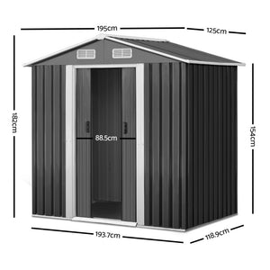 1.25 x 1.95M Steel Garden Shed - Grey
