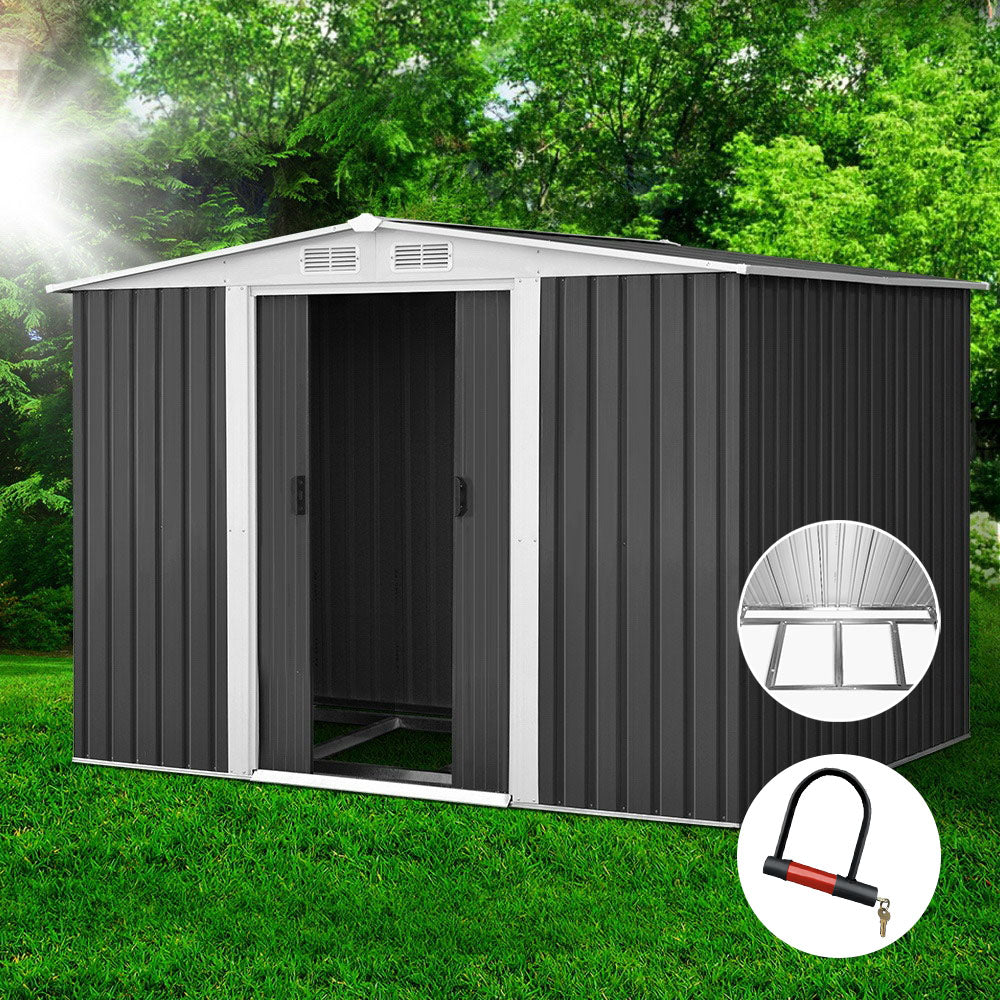 2.05 x 2.57M Steel Base Garden Shed - Grey