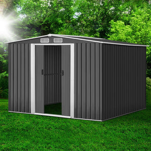 2.57 x 2.57M Steel Base Garden Shed - Grey